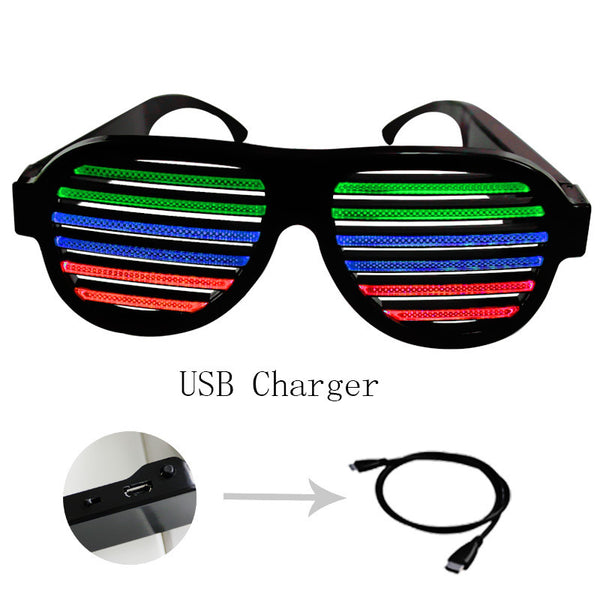 Wireless Sound Activated LED Glasses - Black - Rave Nations