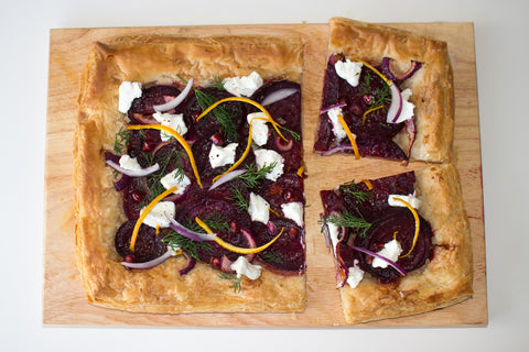 Beetroot, Orange and Goats Cheese Tart with Dill