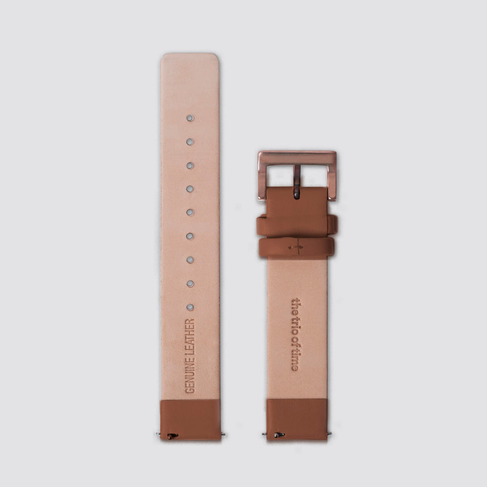 TTT - Straps - Brown Leather/Rosegold buckle