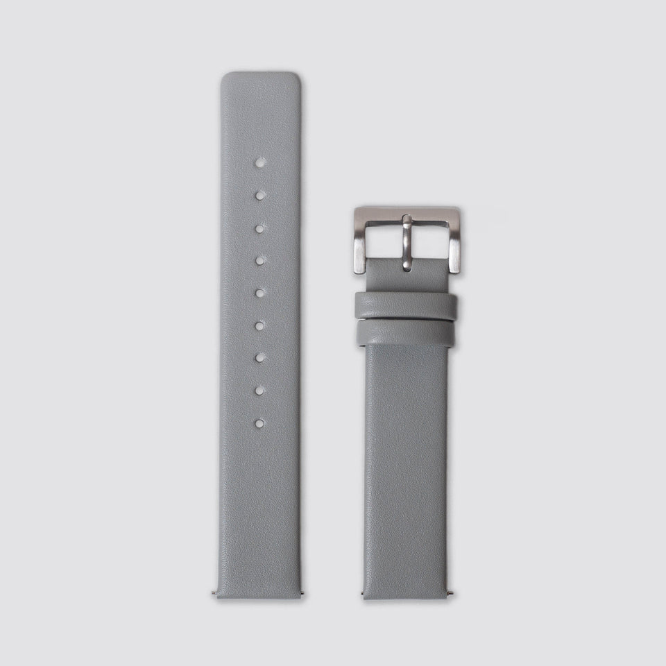 TTT - Straps - Grey Leather/Silver buckle