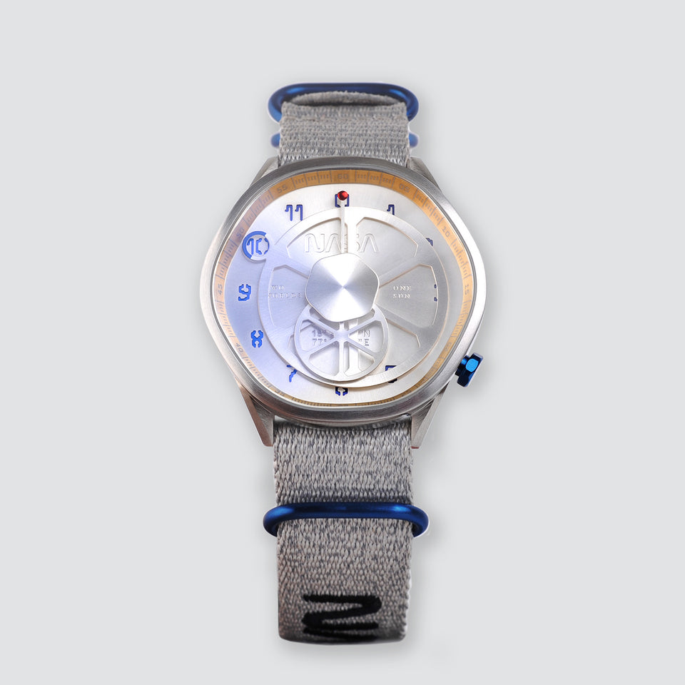 The Mars Time, a watch inspired by Nasa's Perseverance Rover's landing site Jezero Crater and designed by Anicorn Watches, placed on a white background. View 2
