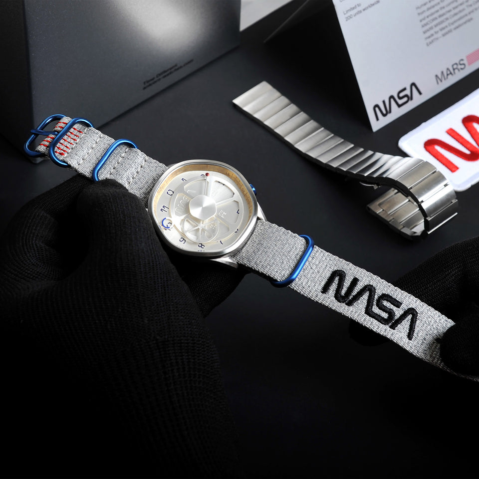 The Mars Time, a watch inspired by Nasa's Perseverance Rover's landing site Jezero Crater and designed by Anicorn Watches, placed on a white background. View 1