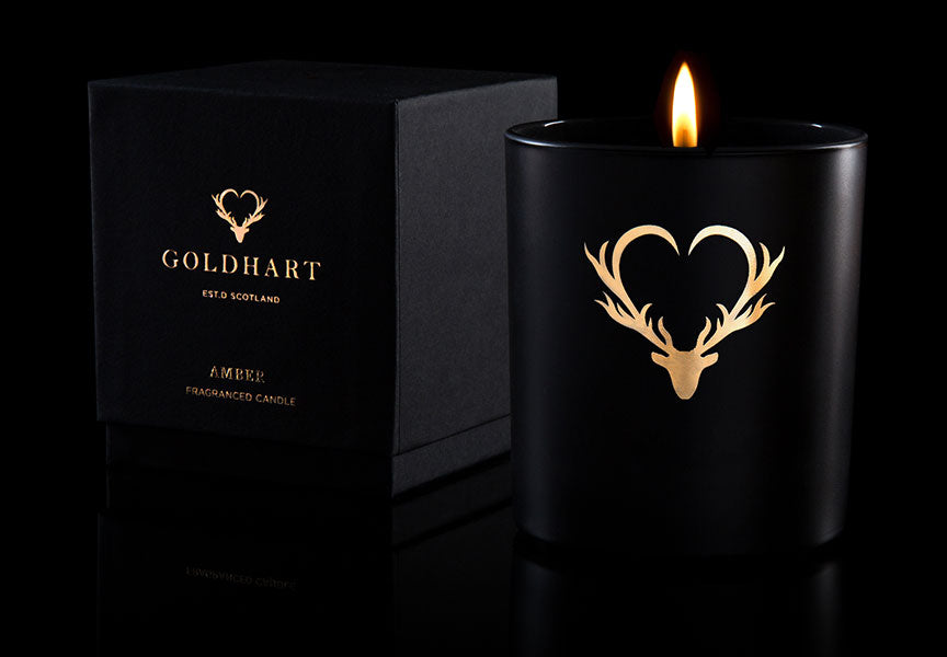 Gold Hart Amber Candle with Flame