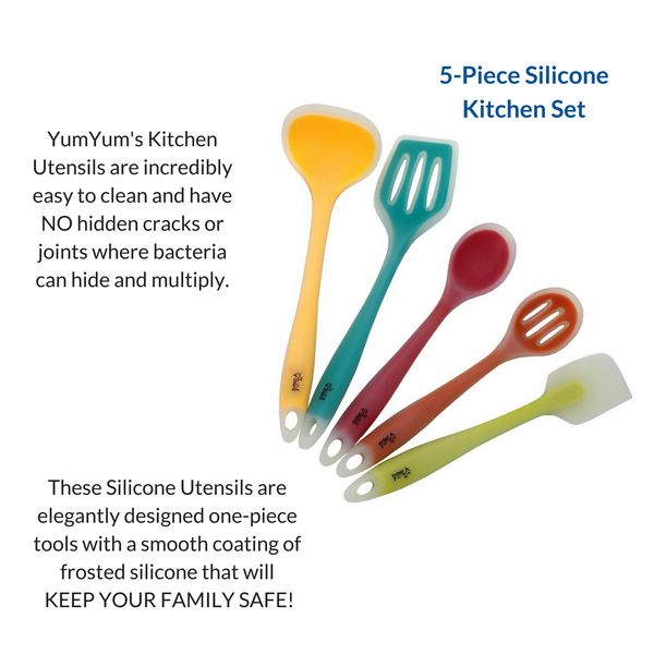 5-Pack of New One-Piece Silicone Kitchen Utensils