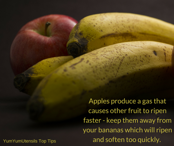 Apples produce a gas that causes other fruit to ripen faster - keep them away from your bananas which will ripen and soften too quickly.