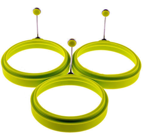 YumYum Utensils Premium Silicone Green Egg Ring Set (Box of 3)