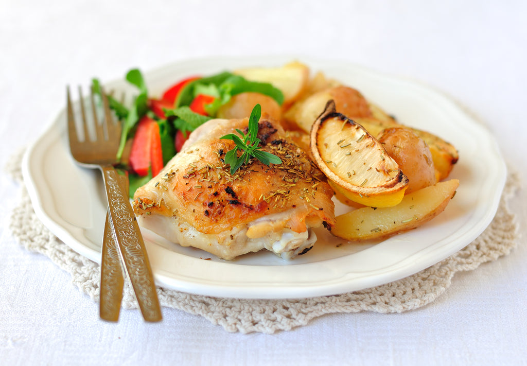 Simple Roasted Lemon Chicken with Potatoes and Rosemary