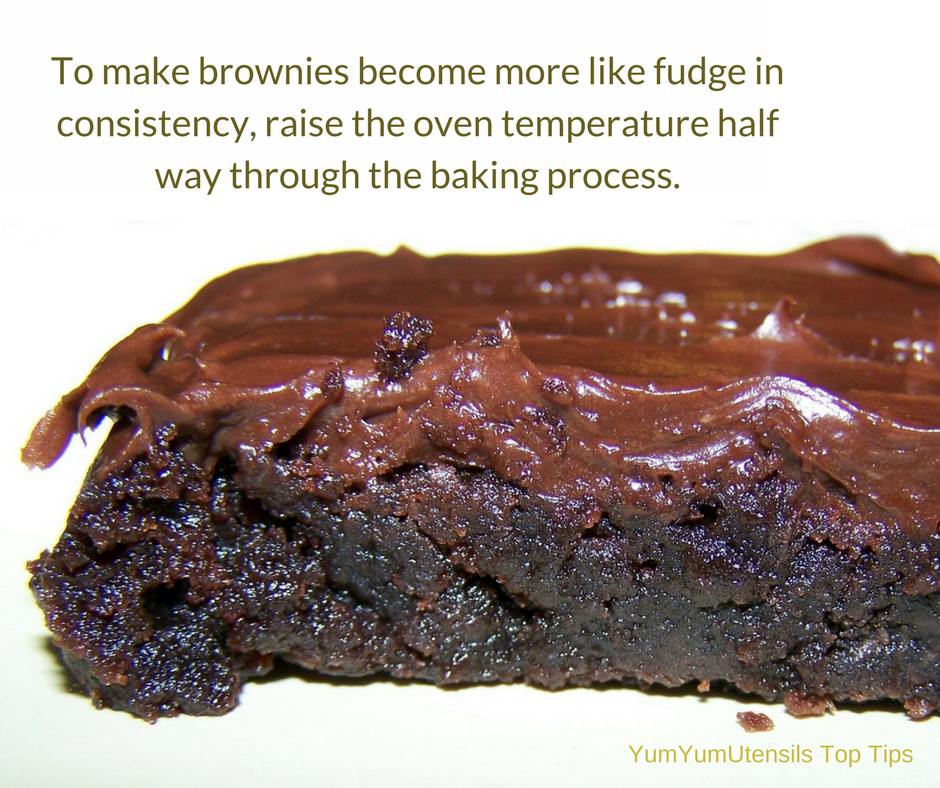 An Alton Brown tip: To make brownies become more like fudge in consistency, raise the oven temperature half way through the baking process.