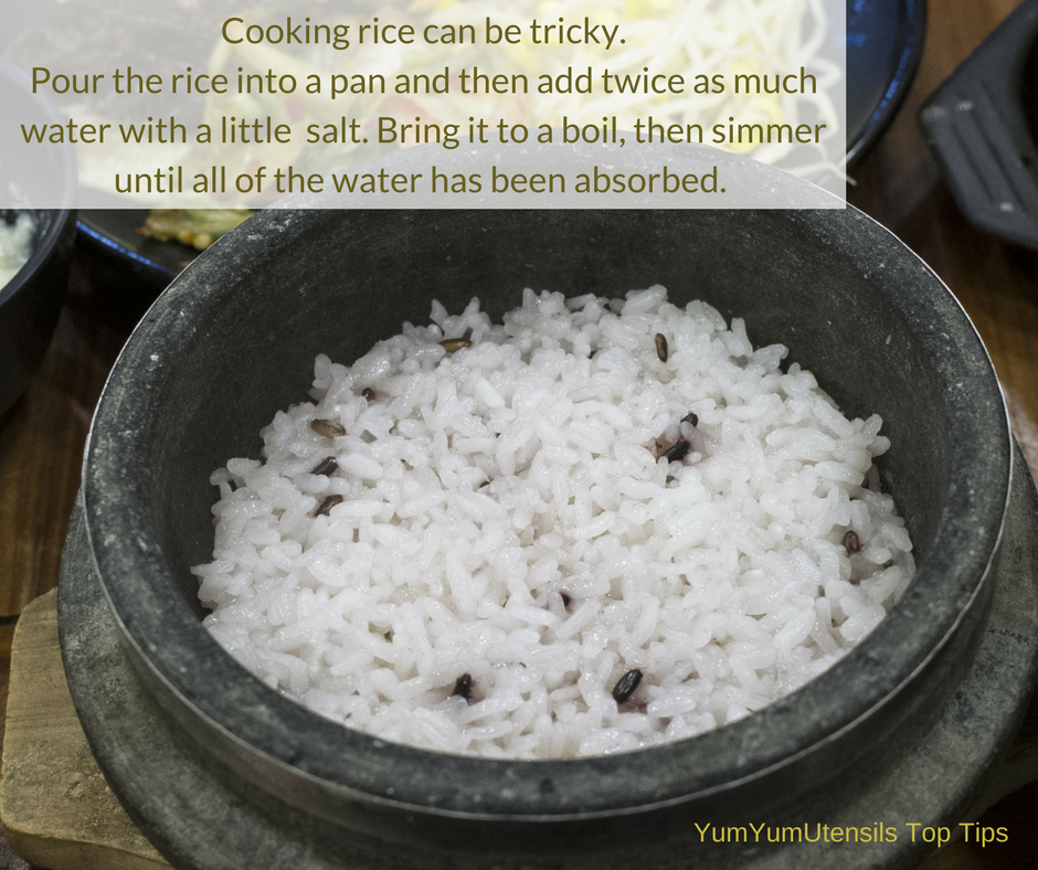"Cooking rice can be tricky. Pour the rice into a pan and then add twice as much water with, as Jamie says, ""A good pinch of salt."" The combination should be allowed to come to a boil before simmering until all of the water has been absorbed. There should not be a need for any of the water to be drained."