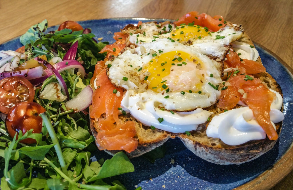 Egg and Smoked Salmon Open Breakfast Sandwich