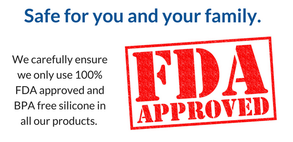 We carefully ensure we only use 100% FDA approved and BPA free silicone in all our products.