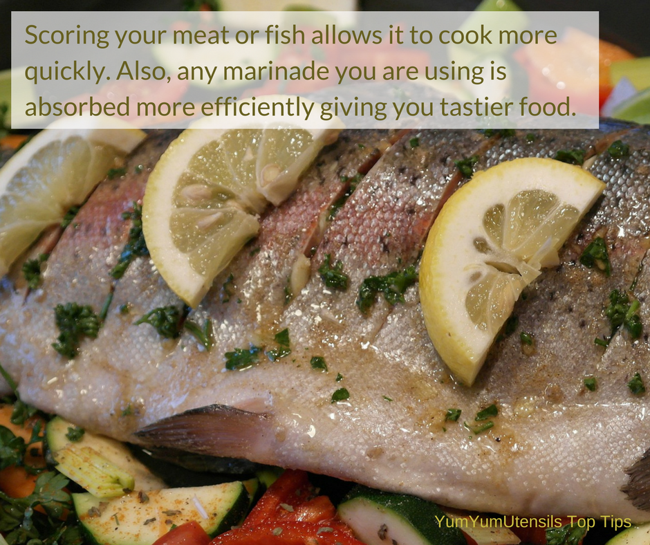Scoring your meat or fish allows them to cook more quickly and lets  any marinade you are using to be absorbed more efficiently giving you tastier food.