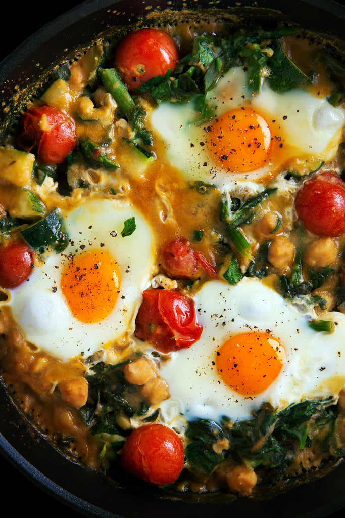 Spinich chickpeas and egg