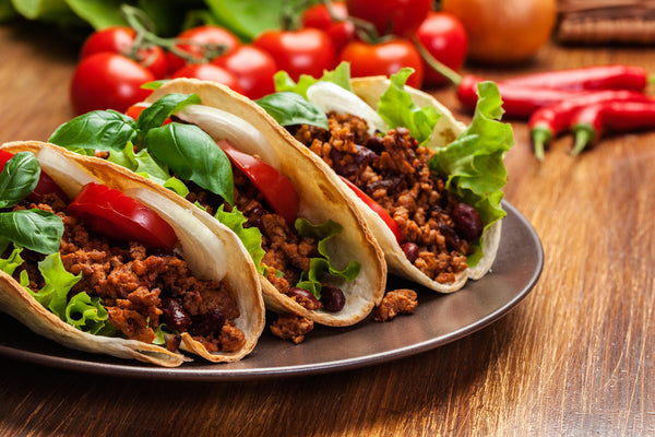 beef, bean and salad tacos