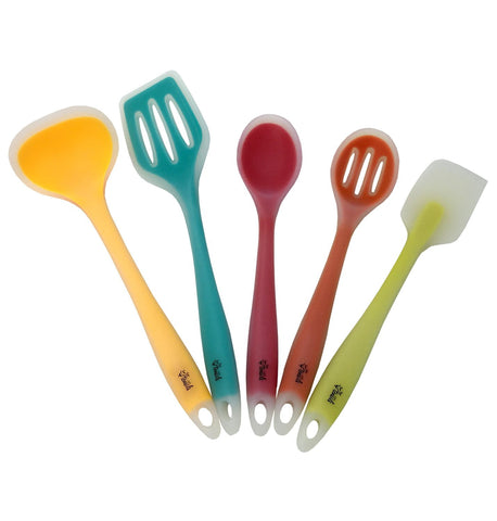 Silicone Cooking Utensils Set of 5 for the Kitchen, One-Piece Tools for Long-Lasting Strength & Hygiene Safety, Colorful Core Utensil Pack, Heat Resistant for Nonstick Pans by YumYum Utensils