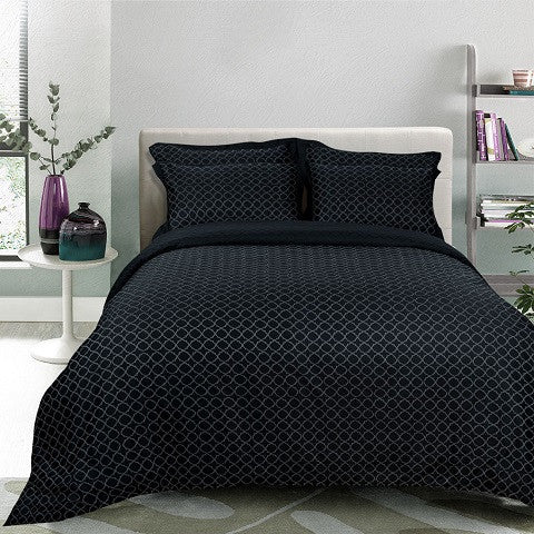Egyptian Cotton Jacquard Black Duvet Cover, 400 Thread Count