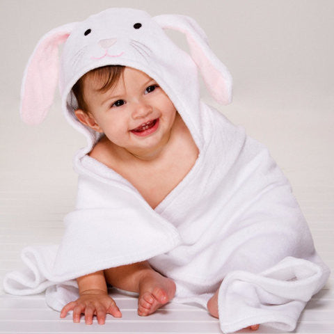White Baby Towel with Bunny Hood