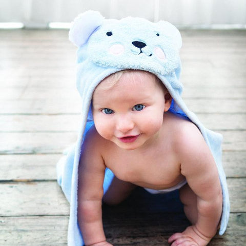 Blue Baby Towel with Teddy Bear Hood