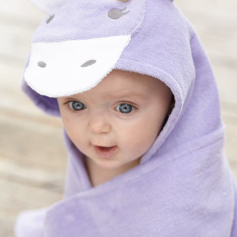 Lavender Baby Towel with Pony Hood