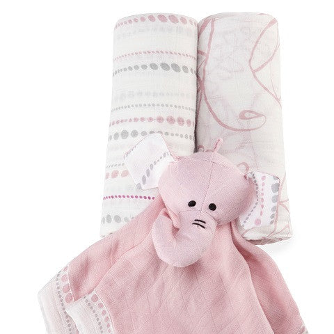 Aden + Anais - Pink Elephant 3 piece Gift Set for Baby