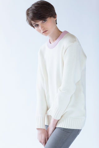 100% Merino Round Neck Sweater White