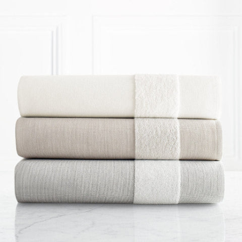 Cotton and Linen Luxury Flat Weave / Terry Loop Combination Towel Set
