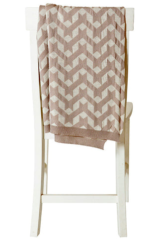 100% Merino Baby Blanket with Crosshatch pattern Beige