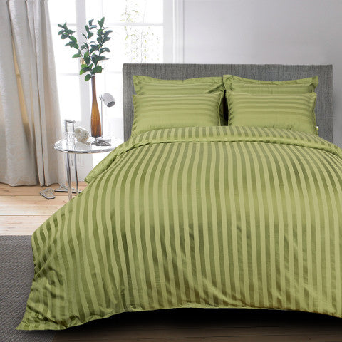 Egyptian Cotton Striped Yellow Green Bed Sheet, 400 Thread Count ...