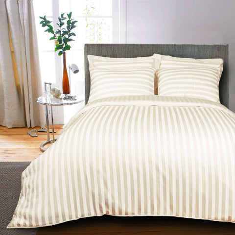 Egyptian Cotton Striped Ivory Bed Sheet, 400 Thread Count