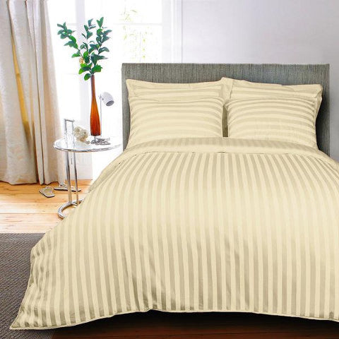 Egyptian Cotton Striped Ivory Duvet Cover, 400 Thread Count