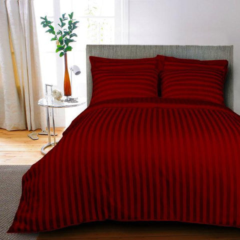 Egyptian Cotton Striped Maroon Duvet Cover, 400 Thread Count