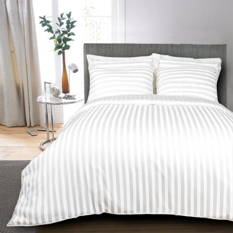 Egyptian Cotton Striped White Duvet Cover, 400 Thread Count