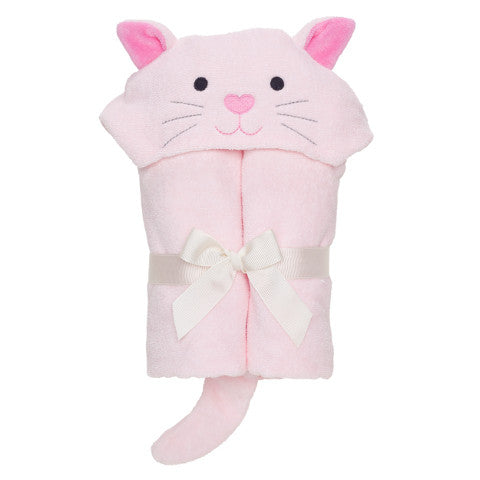 Pink Baby Towel with Kitty Hood