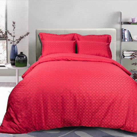 Egyptian Cotton Jacquard Red Bed Sheet, 400 Thread Count