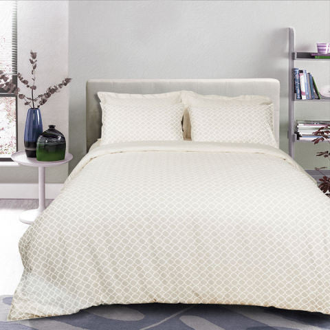 Egyptian Cotton Jacquard Beige Duvet Cover, 400 Thread Count