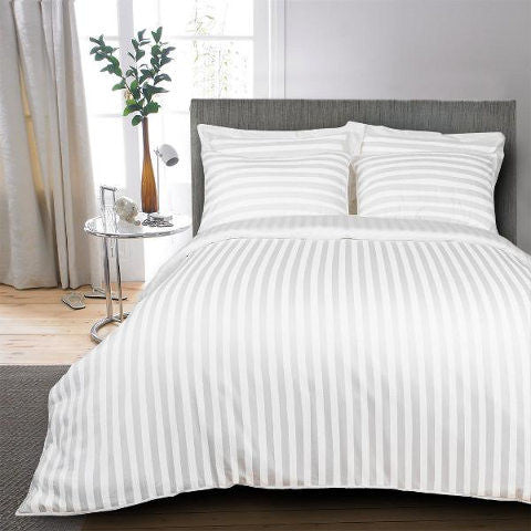 Egyptian Cotton Striped White Bed Sheet, 400 Thread Count