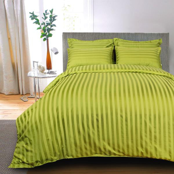 ... Egyptian Cotton Striped Yellow Green Bed Sheet, 400 Thread Count