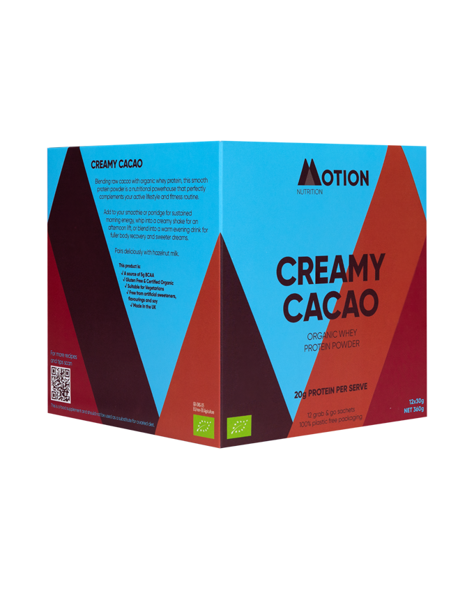 Creamy Cacao Organic Whey Protein from Motion Nutrition