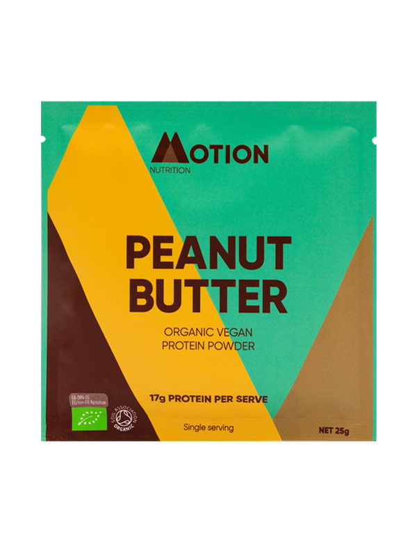Single serve organic peanut butter vegan protein powder
