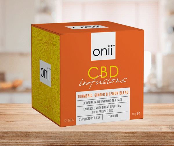 Onii CBD Tea with Turmeric, Ginger & Lemon Tea with 25mg of CBD per cup