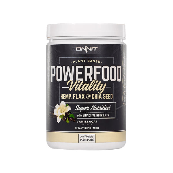 Onnit Powerfood Vitality hemp protein with flax and chia seed.