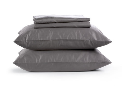 Sachi Home - Gray Sateen Bedding - 1 Fitted, 1 Flt and 2 Pillowcases