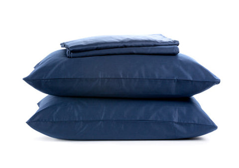 Sachi Home - Navy Sateen Bedding - 1 Fitted, 1 Flt and 2 Pillowcases