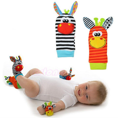 1Pairs Animal Baby Infant Kids Foot Sock Rattles Toys Developmental Soft