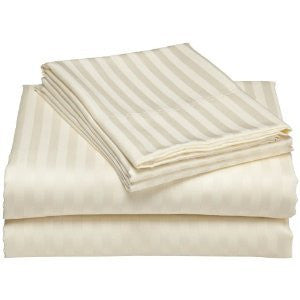 Luxury 600 Thread Count 100% Egyptian Cotton California King Sheet Set Striped In Ivory/Cream