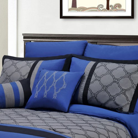 Luxury Maxfield 8pc Queen Bed in A Bag Bedding Set In Blue