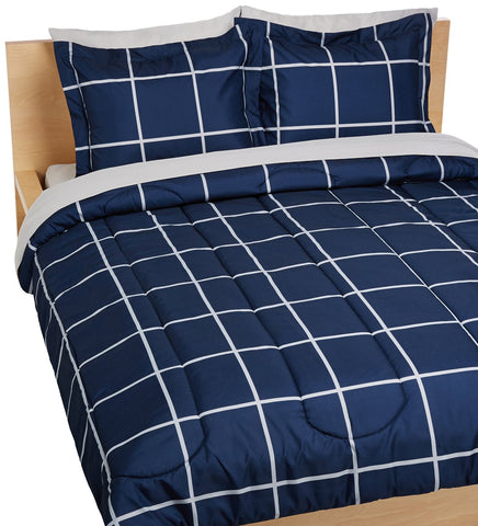 Luxury 5-Piece Bed-In-A-Bag - Twin/Twin Extra-Long Navy Simple Plaid