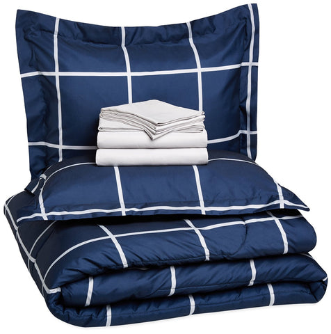 Luxury 7-Piece Bed-In-A-Bag - Full/Queen, Navy Simple Plaid