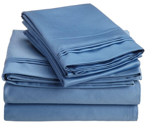Luxury 800 TC 100% Egyptian Cotton California King Sheet Set In Medium Blue