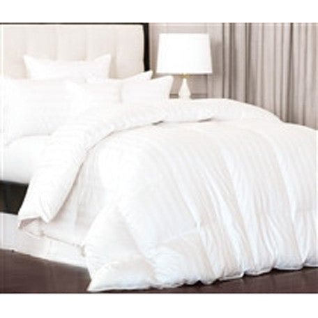 All-Season Luxurious Down Alternative Comforter Stripes White